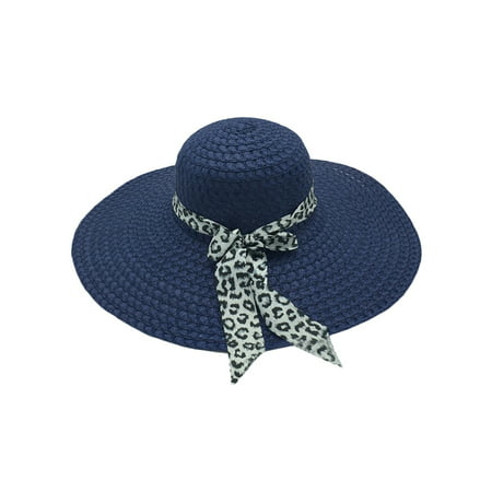 Womens Summer Beach Panama Straw Hat Wide Brim Leopard Bow Floppy Straw Sun Caps