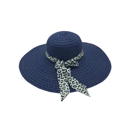 Womens Summer Beach Panama Straw Hat Wide Brim Leopard Bow Floppy Straw Sun Caps Broad Brimmed Hat