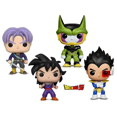 Warp Gadgets Bundle - Funko Pop Animation Dragonball Z - Perfect Cell, Vegeta, Gohan (Training Outfit) & Trunks (4
