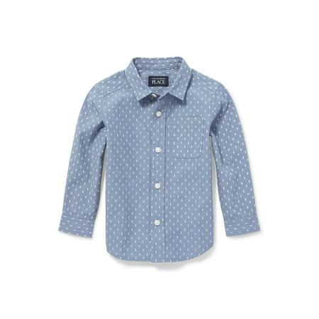 The Children's Place Long Sleeve Printed Poplin Button-Down Shirt (Baby Boys & Toddler Boys)