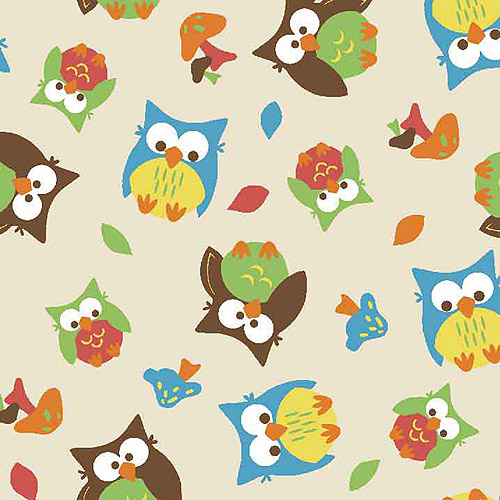 Springs Creative Flannel 3D Applique Bright Owl Allover, Fabric By the Yard