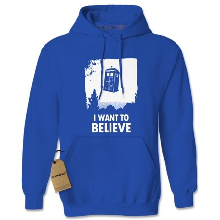Tardis Jacket (I Want To Believe Dr. Who Flying Tardis Adult Hoodie)