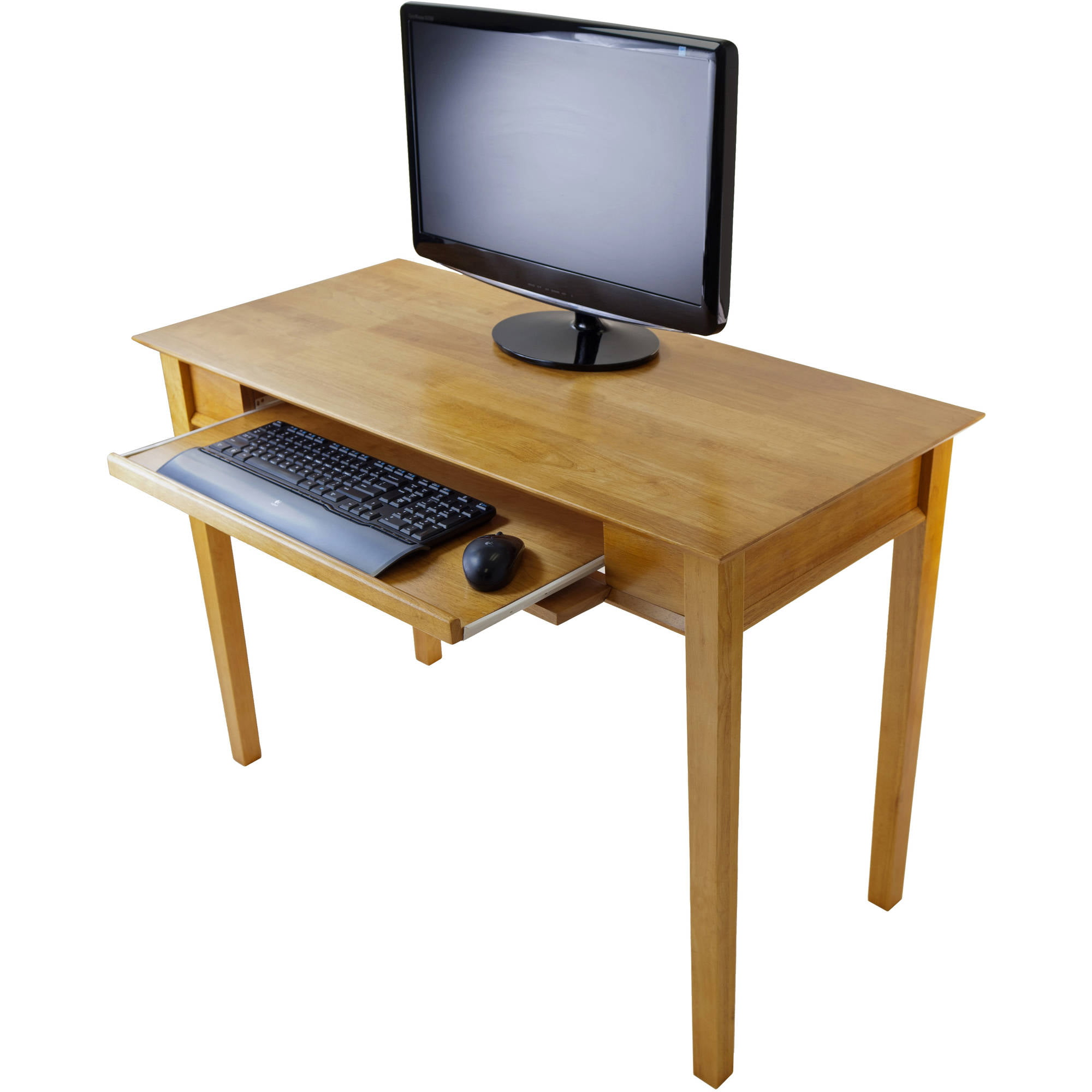 computer desk table w drawer storage natural wood home. Black Bedroom Furniture Sets. Home Design Ideas