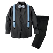 Spring Notion Boys' 4-Piece Plaid Suspender Outfit
