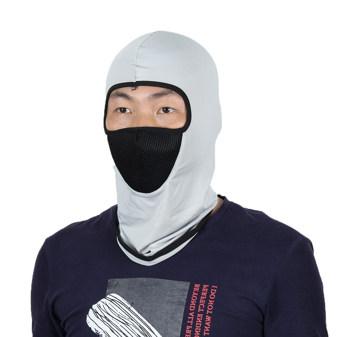 Full Face Mask Outdoor Sports Cycling Neck Protector Hat Helmet Balaclava Gray