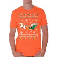 Awkward Styles Ugly Christmas Shirts for Men Xmas Santa Unicorn T-Shirt