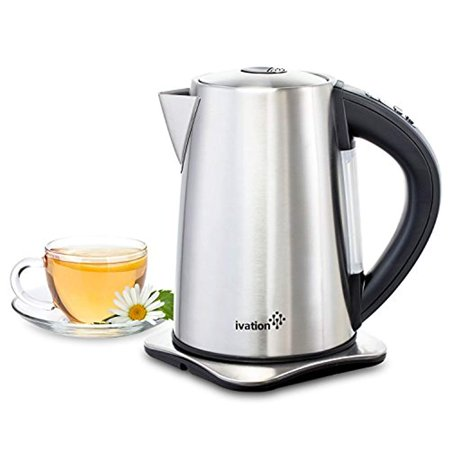 Ivation Precision-Temperature Electric Hot Water Tea Kettle Pot 1.7 Liter (7-Cup), 1500 Watt, Stainless Steel Cordless, 6 Preset Variable Heat Settings for Tea, Coffee or Baby