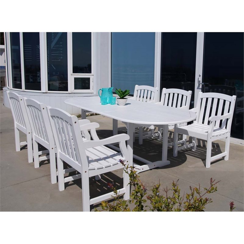 Vifah Bradley 7 Piece Extendable Oval Patio Dining Room Set in White by Vifah