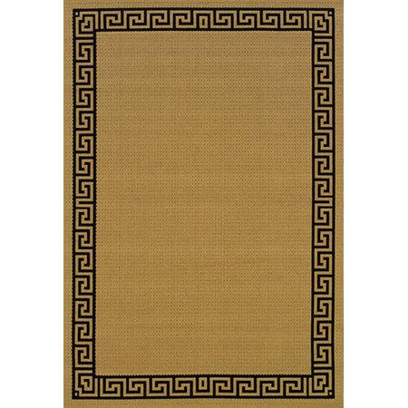 Moretti Bali Area Rugs - 782Y1 Outdoor Beige Greek Key Border Patio Deck Rug ()
