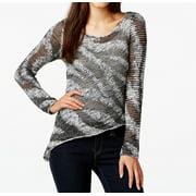 INC NEW Gray Women's Size Large L Asymmetrical Knit Scoop Neck Sweater