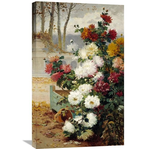 Global Gallery 'Chrysanthemums in a Walled Garden' by Eugene Henri Chuchois Painting Print on Wrapped Canvas