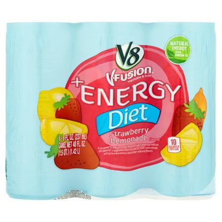 V8 V Fusion  Energy Diet Strawberry Lemonade Juice 8Oz 6 Pack