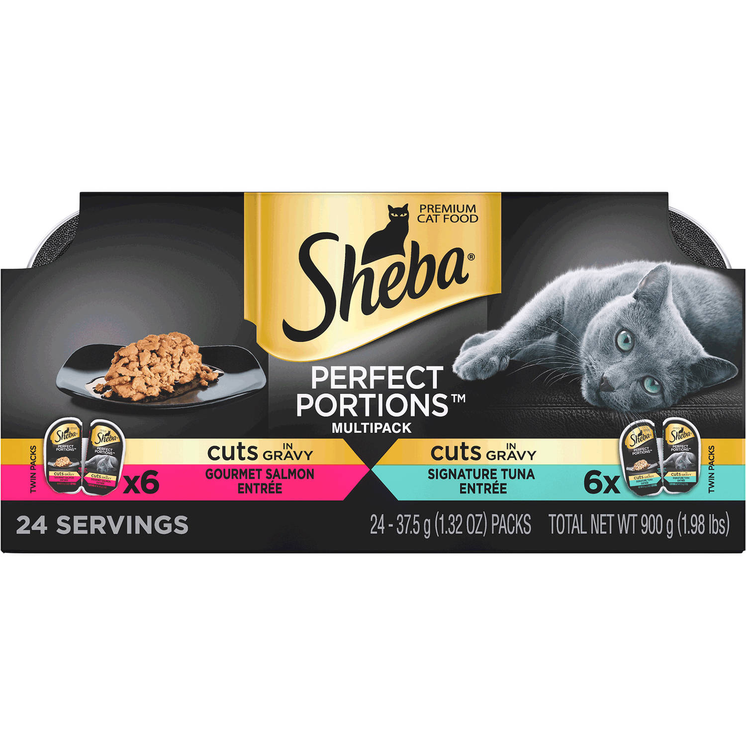 Sheba Perfect Portions Cuts in Gravy Multipack Salmon & Tuna Wet Cat Food 2.6 oz. (Pack of 12)
