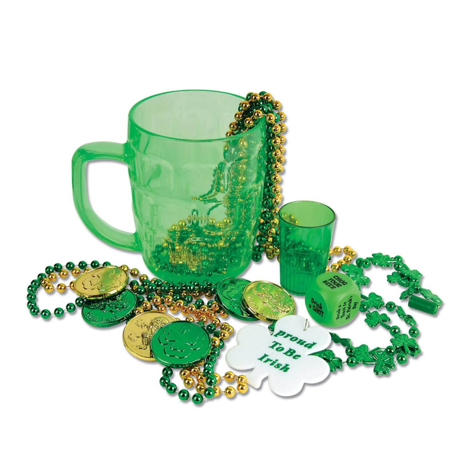 Club Pack of 96 St. Patrick's Day Mugs, Beads, Coins, Dice and Shot Glass Decorations by Party Central