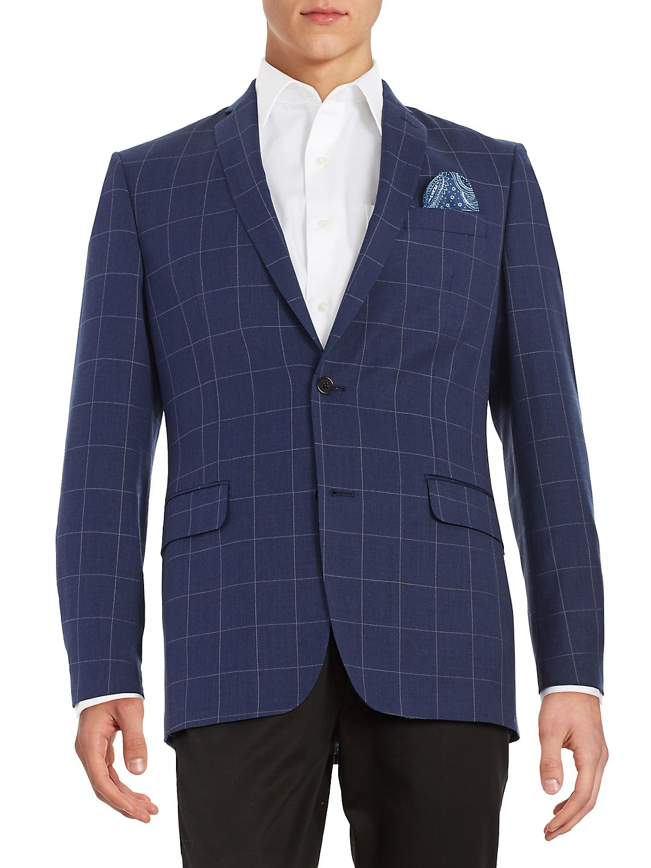 Plaid Two-Button Suit Jacket