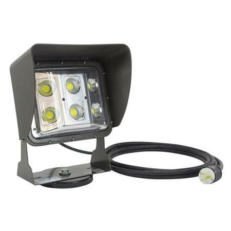 Larson Electronics LEDWP-600E-M-10C-515 120 - 277V AC & 60 watt Low Profile LED Flood Light with 10 ft. Cord & Glare Shield, Magnetic Mount