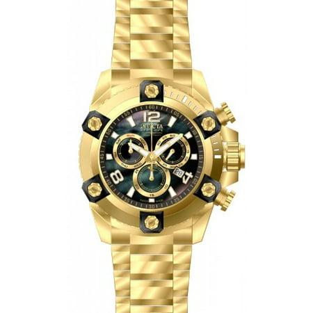 - 15827 Men's Arsenal Reserve Black MOP Dial Gold Steel Bracelet Chronograph Dive Watch