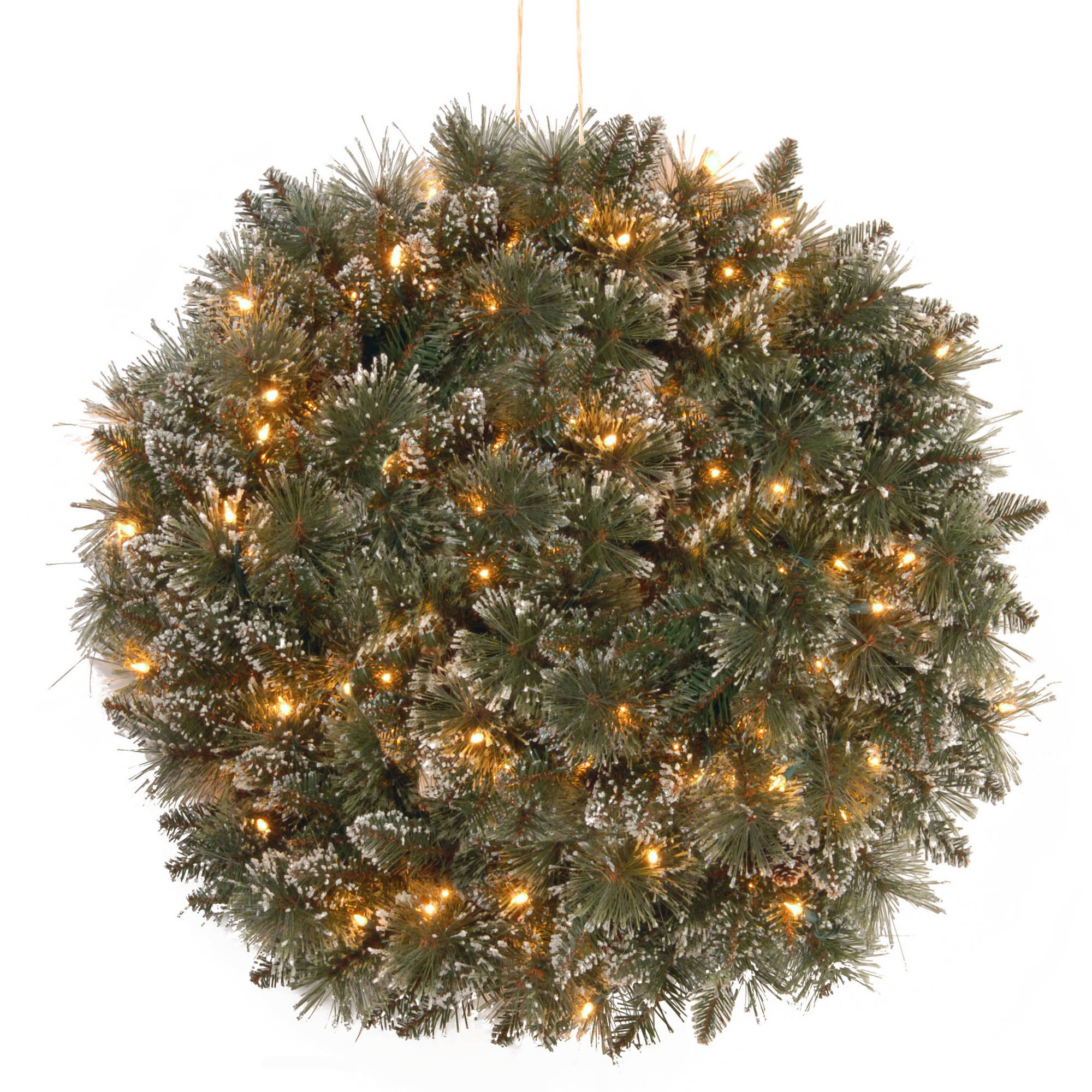 "16"" Glittery Bristle Pine Kissing Ball with Battery Operated Warm White LED Lights"