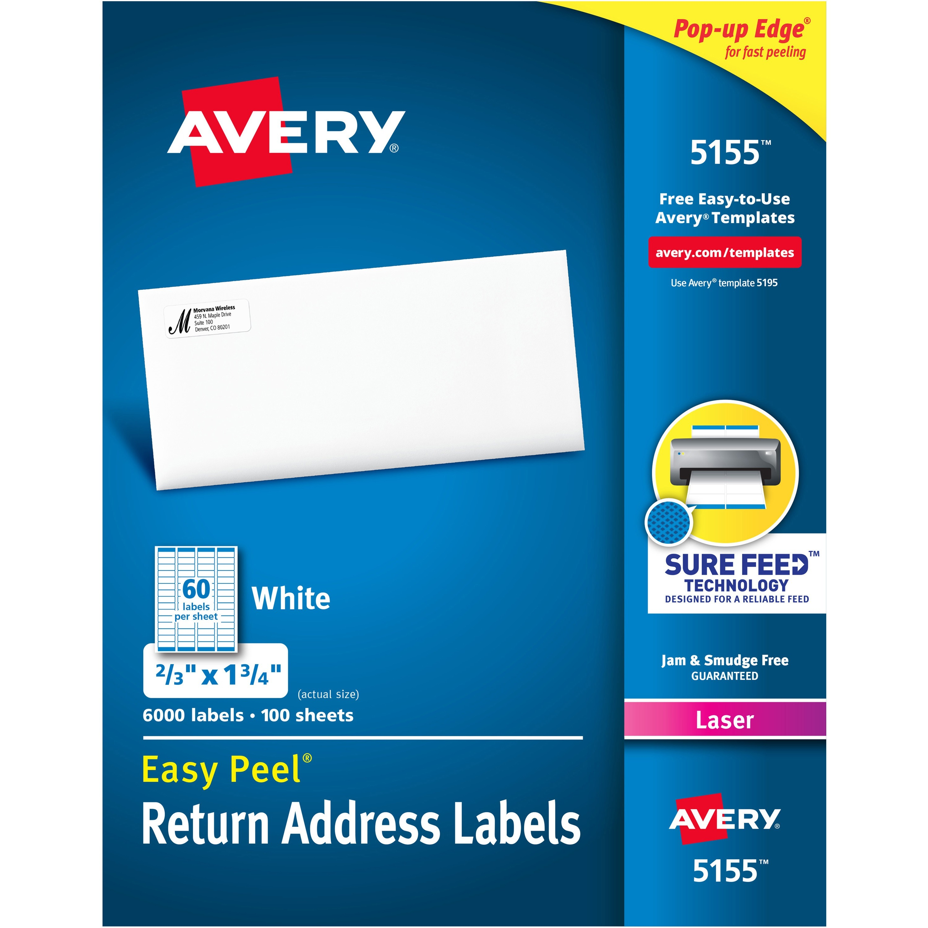 Avery Easy Peel Mailing Address Labels, Laser, 2/3 x 1 3/4, White, 6000/Pack