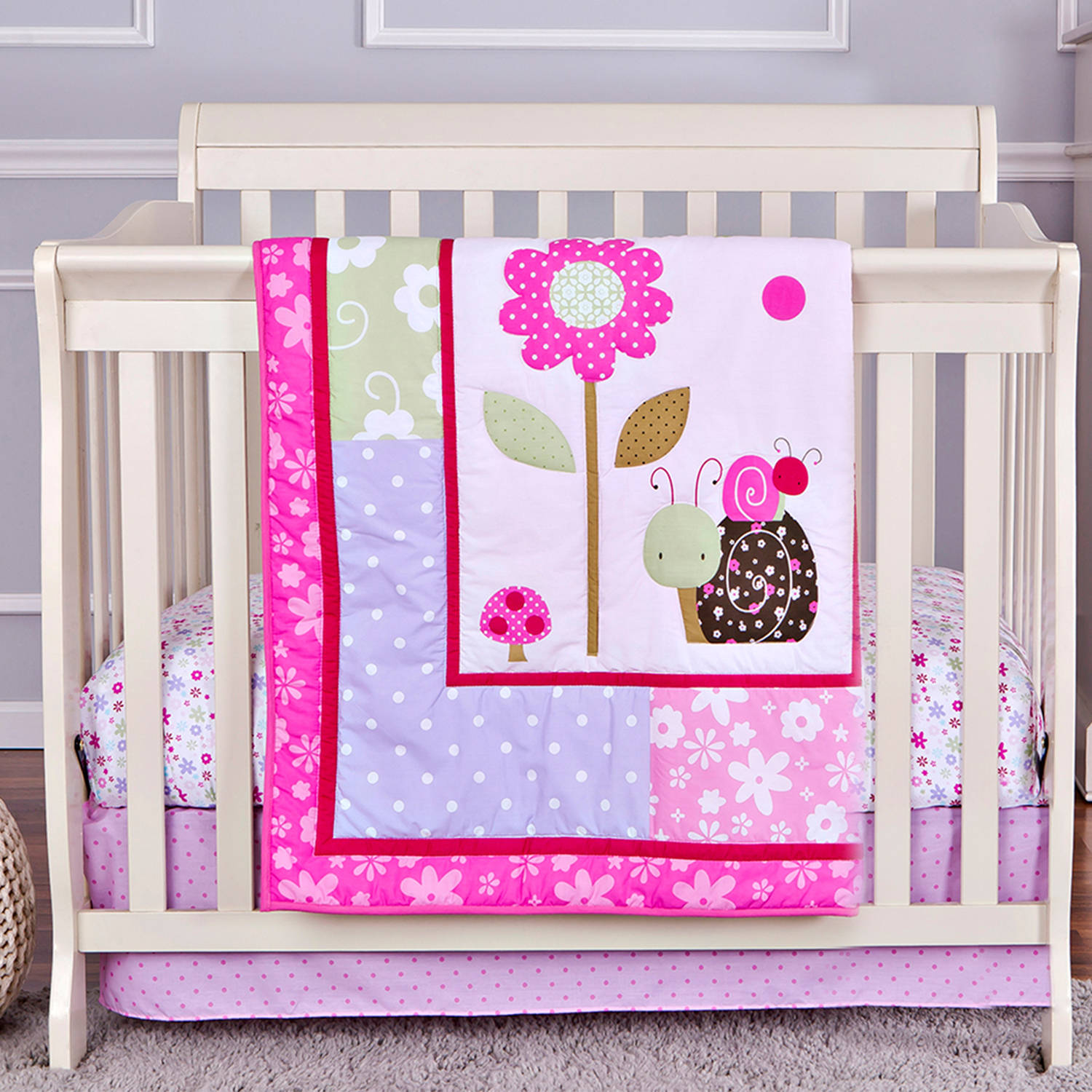 Dream On Me Spring Time 2-Piece Reversible Portable Crib Bedding Set
