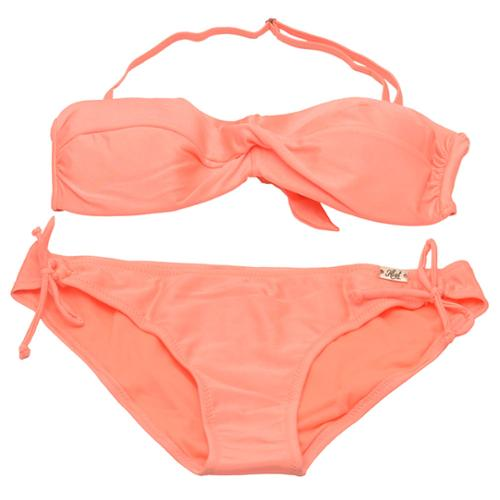 Girls Peach Drawstring 2 Pc Swimsuit Plus Size 12.5 JUNIOR S 2-4