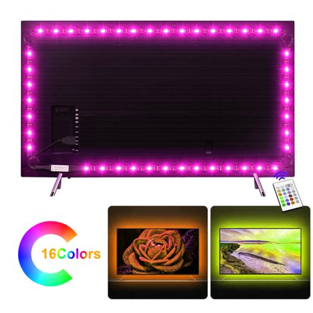 USB LED Strip Light 3.28ft/21M 5050 IP65 Waterproof RGB TV Backlight Kit Multi-color LED Tape with Remote Controller for TV/PC/Laptop Background Lighting