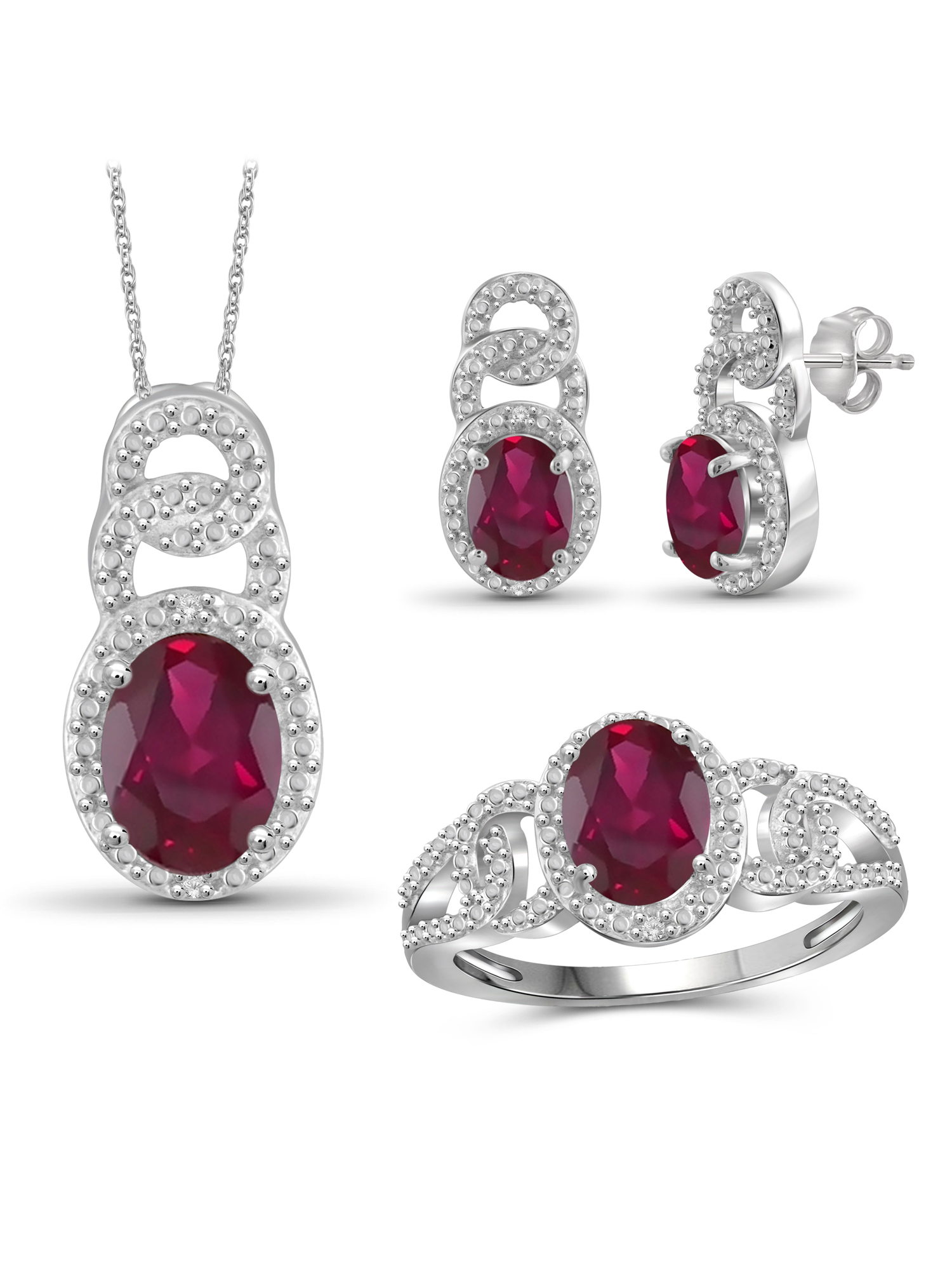 JewelersClub 5 1 2 Carat T.G.W. Ruby And White Diamond Accent Sterling Silver 3-Piece Jewelry set by JewelersClub