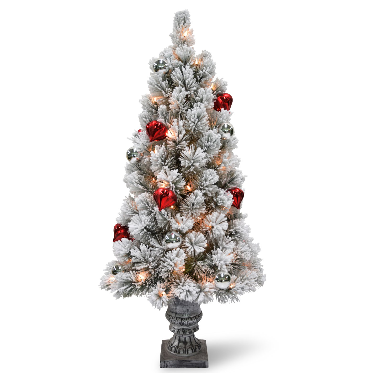 3 ft. Snowy Bristle Pine Tabletop Tree with Battery Operated LED Lights