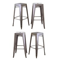 AmeriHome Loft Metal Bar Stools, Set of 4, Multiple Sizes and Colors