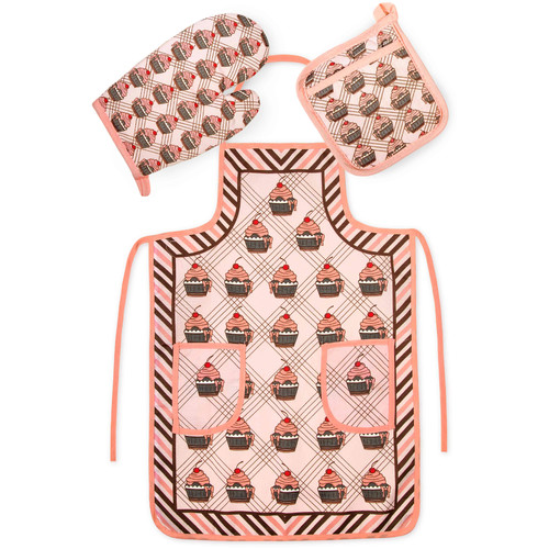 Crover Chef's 3 Piece Cotton Pink Cupcakes Kitchen Set