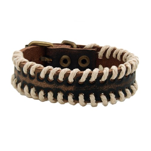 """Men's Brown Washed Leather with Rope Trim Bracelet, 8.5"""""""