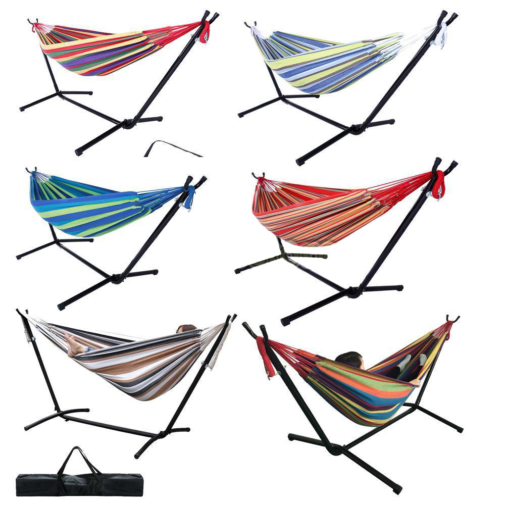 Ktaxon Portable Outdoor Polyester Hammock Set Garden Swing Set  indoor Swing Bed Spreader With Stand