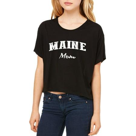 Me Mom Maine Map Portland Augusto Flag Black Bears Home University Of Maine Womens Flowy Boxy T Shirt Clothes
