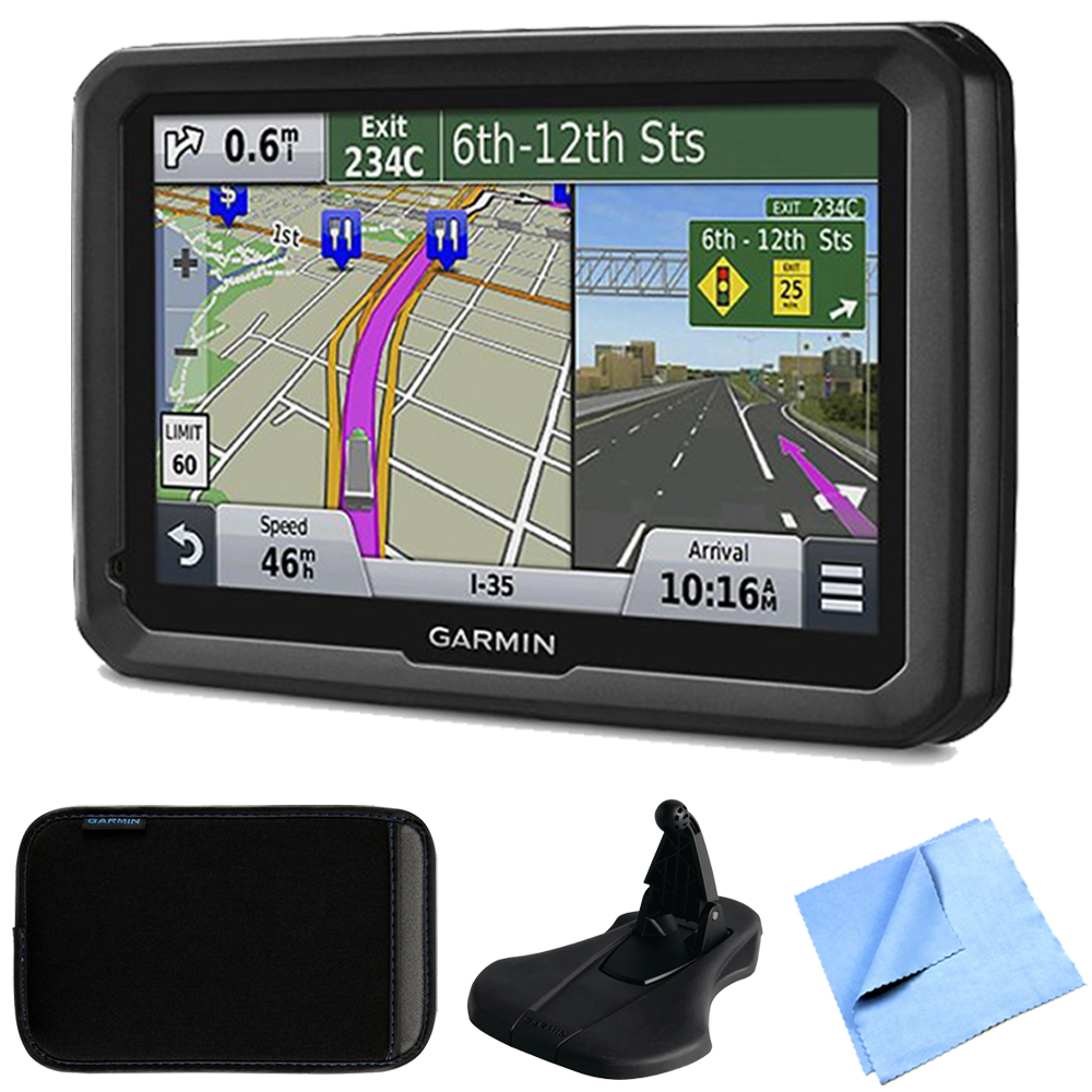 "Garmin dezl 570LMT 5"" Truck GPS Navigation Lifetime Map/Traffic Mount/Case Bundle - Includes 5"" Truck GPS Navigation System, Portable Friction Mount, Soft Case and 1 Piece Micro Fiber Cloth"