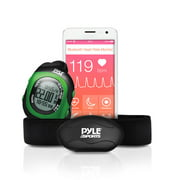 PYLE-SPORT PSBTHR70GN - Bluetooth Wireless Heart Rate Monitor Chest Strap with Digital Wrist Watch, Measures Speed, Distance, Countdown and Lap Times for Walking, Running, Jogging, Exercise, Fitness