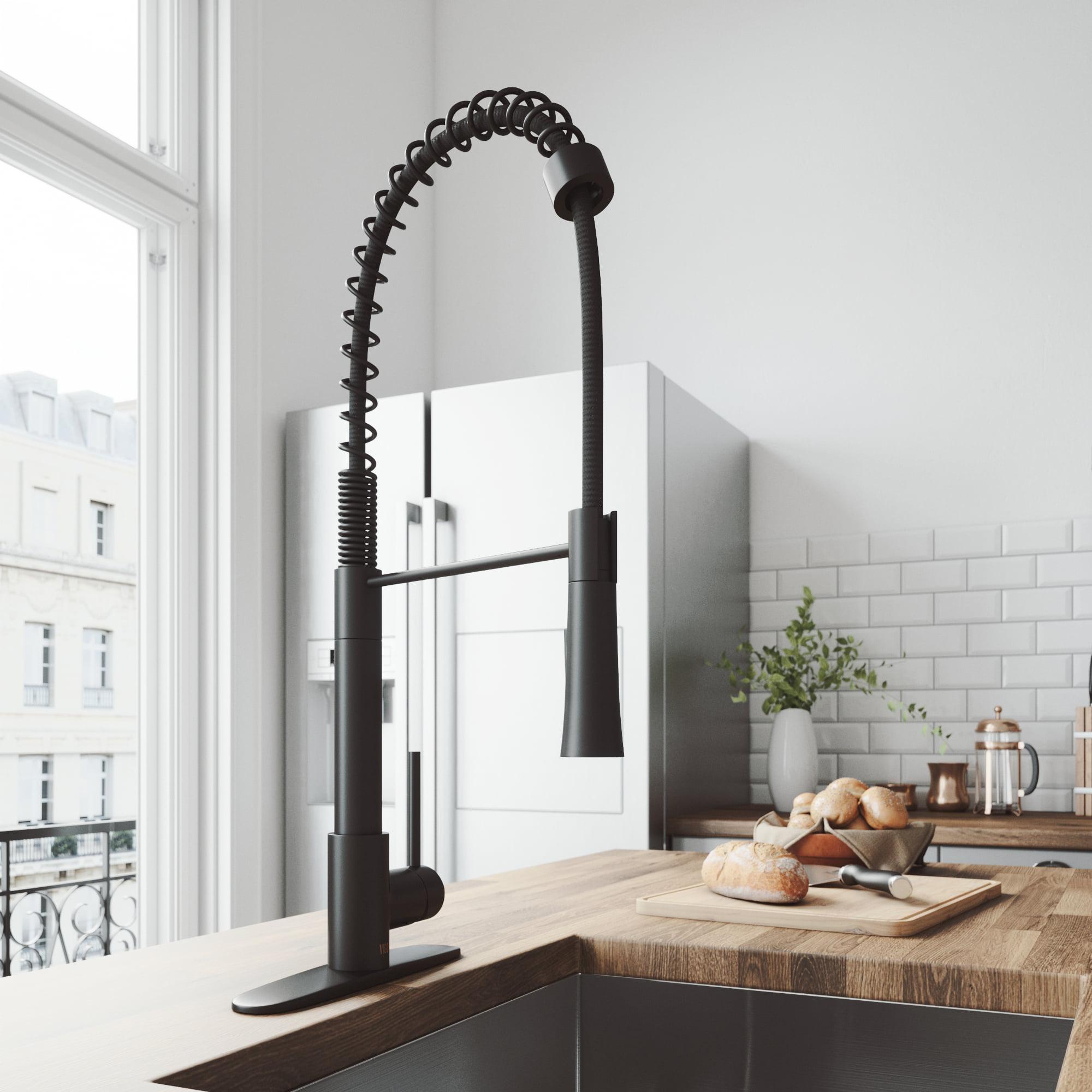 Vigo Laurelton Pull Down Spray Kitchen Faucet In Matte Black vigo laurelton pull-down spray kitchen faucet with deck plate, matte black  - walmart