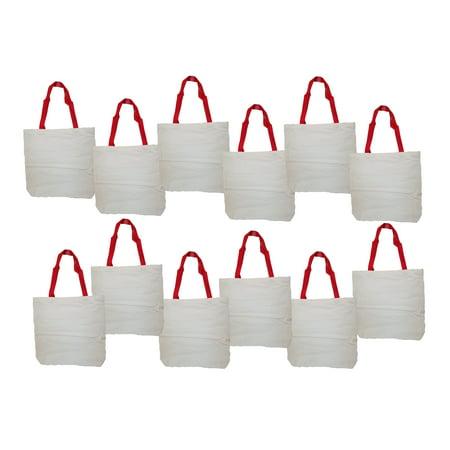 Lot of 12 White Cotton Totes 14 1/2