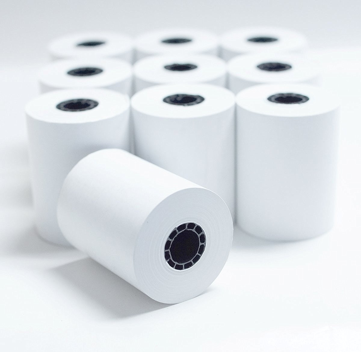 "2-1/4"" x 85' White Thermal Paper Credit Card & Cash Register Tape - Pack of 10 Rolls"