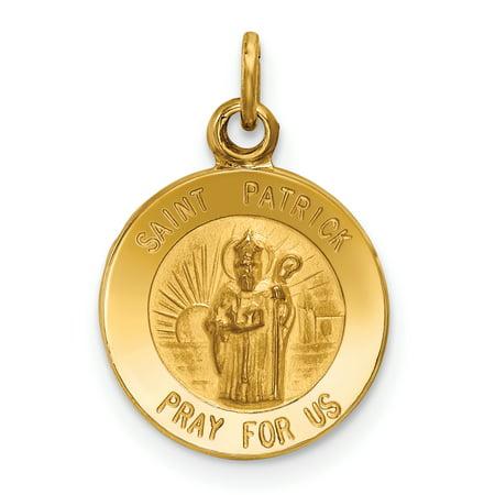 14k Yellow Gold Saint Patrick Medal Pendant Charm Necklace Religious Patron St Gifts For Women For (Saint Michael Patron Saint)