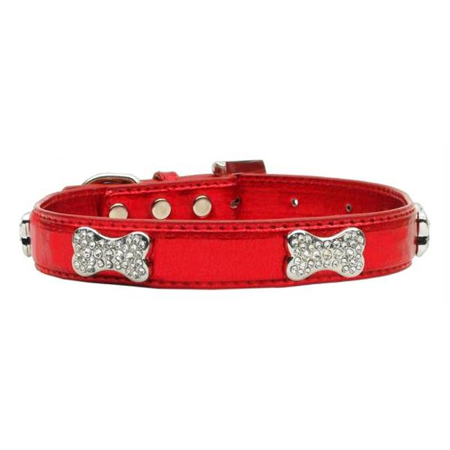 Mirage Pet Products 87-01 XSRD Metallic Crystal Bone Collars Red Extra Small
