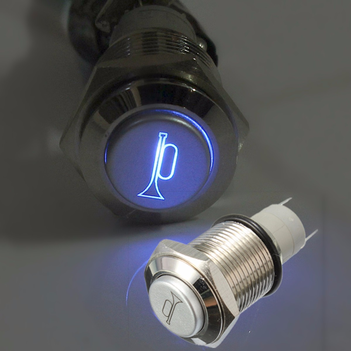 Durable 12V Blue LED 16mm Momentary Car Horn Push Button Toggle Light Switch