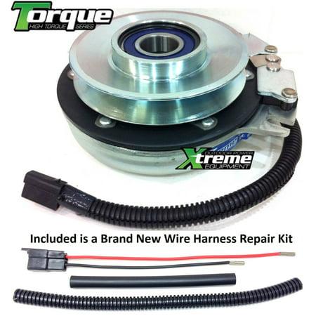 bundle - 2 items: pto electric blade clutch, wire harness repair kit   replaces bush hog pto clutch 98697 tc180 tc200 turf champ- w/ harness  repair kit