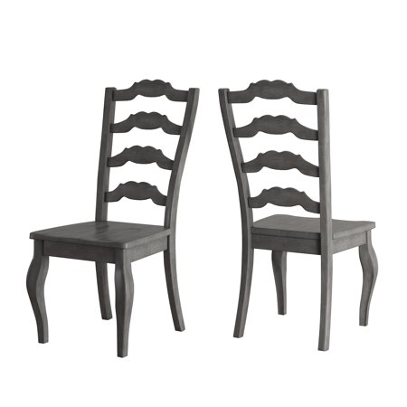 Weston Home Farmhouse Dining Chair with French Ladder Back, Set of 2, Multiple Finishes ()