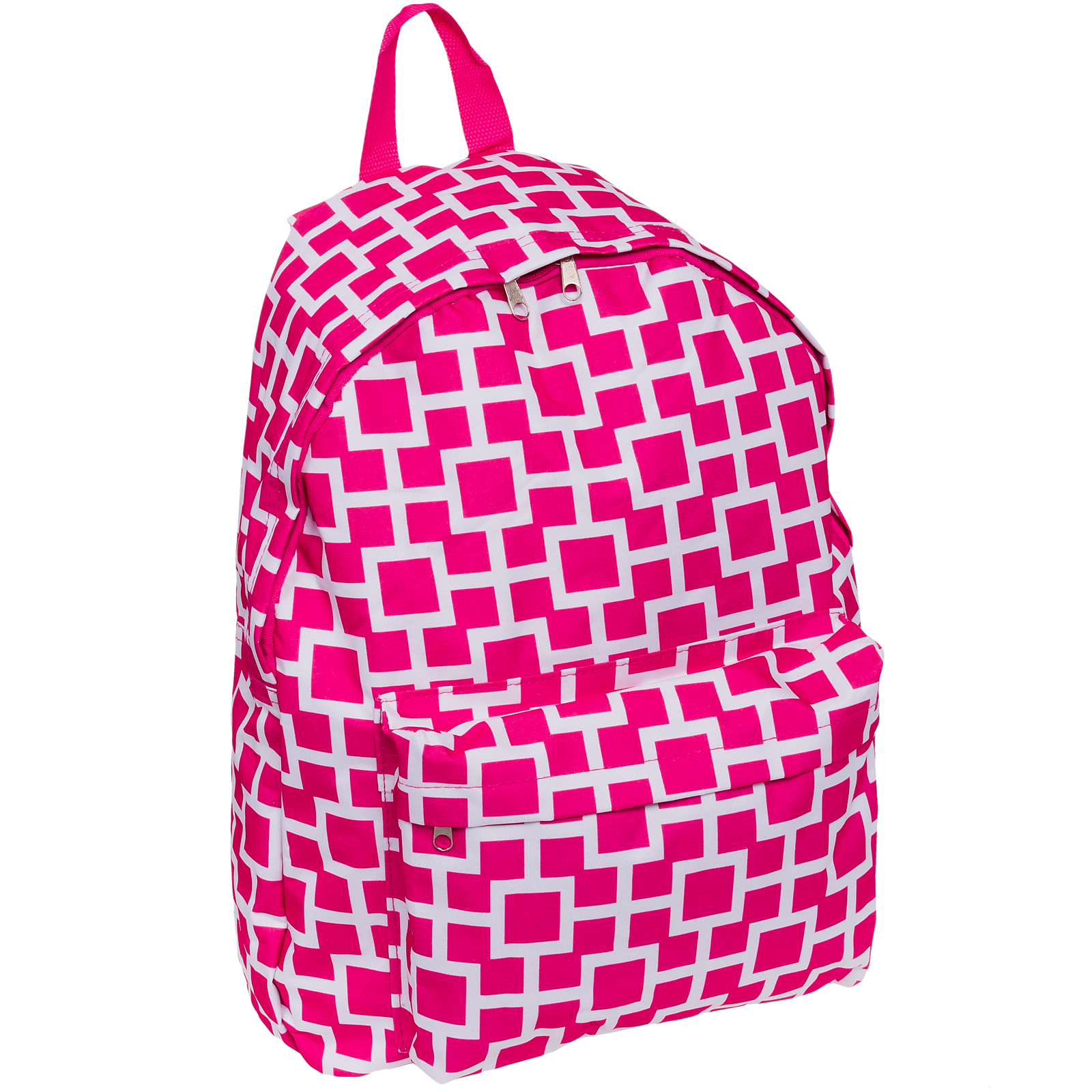 "SilverHooks Geo Square Print 17"" Backpack Bag w/ Cell Phone Pouch (Pink/White)"