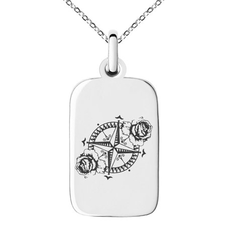 Stainless Steel Nautical Floral Rose Compass Engraved Small Rectangle Dog Tag Charm Pendant Necklace