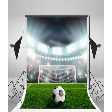 HelloDecor Polyester Football Fields Backdrop 5x7ft Sports Match Playground Soccer Game Children Boy Birthday Theme Party Decoration School Activity Event Photo