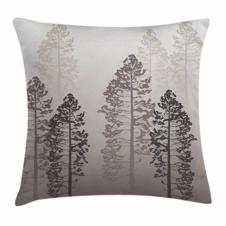 Farmhouse Decor Throw Pillow Cushion Cover, Pine Trees in the Forest on Foggy Ombre Backdrop Wildlife Adventure Artwork, Decorative Square Accent Pillow Case, 18 X 18 Inches, Light Grey, by Ambesonne - National Forest Adventure Farm Halloween