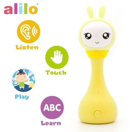 Alilo R1+ Shake and Tell Advanced Educational Baby Rattle Smart Bunny w/ 7 Features Learning Number, Alphabet, Music Note, Sleeping Nursery Rhyme, Repeat, Interactive Game & Illuminating Ears - Yellow ()