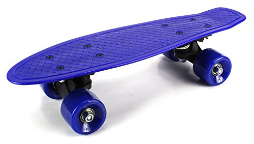 """Mini Smooth Ride Cruiser Complete 17"""" Banana Skateboard w  54mm Wheels, ABEC-7 Bearings (Blue) by Velocity Toys"""