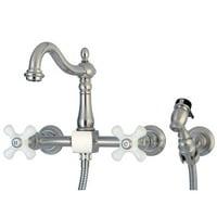 Wall Mount Kitchen Faucet with Brass Sprayer Cross Handle, Satin Nickel